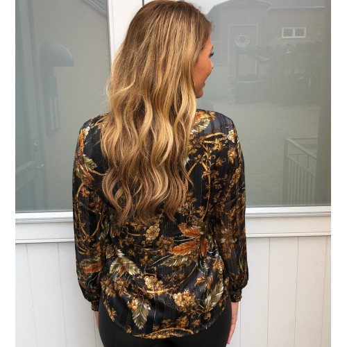 B.young flower lurex blouse