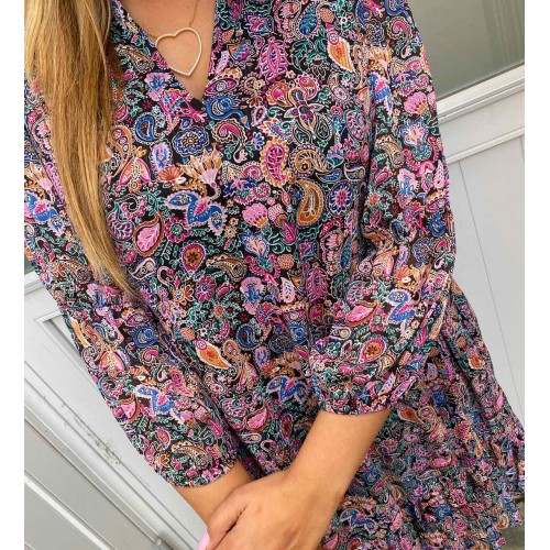 CONTINUE Agate dress multi paisly print