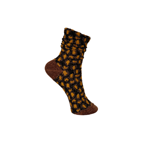 BLACK COLOUR leigh dotted sock camel 4232