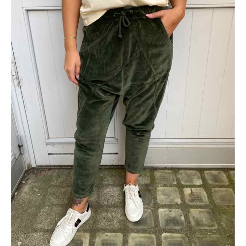 CABANA LIVING Velour baggy pants - army