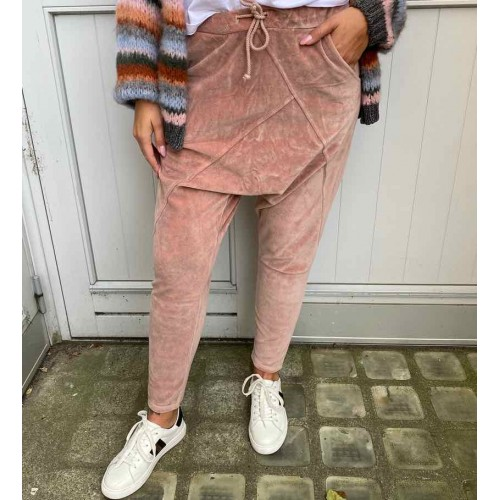 CABANA LIVING Velour baggy pants - rose