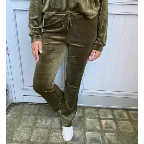 CONTINUE Joey velvet pants - army