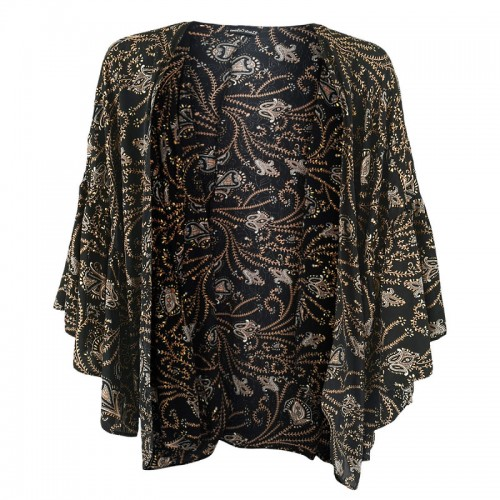 BLACK COLOUR Luna boho sleeve kimono - coco black