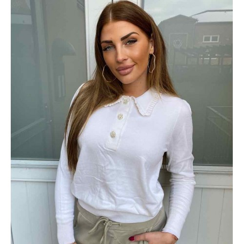 NEO NOIR Gemma Diamond knit blouse - off white